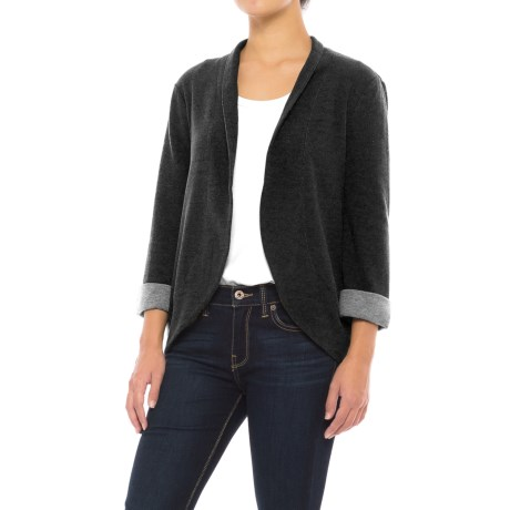 Specially made Open-Front Knit Cardigan Shirt - 3/4 Sleeve (For Women)