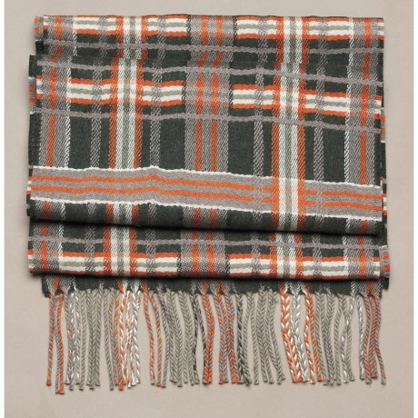 Johnstons of Elgin Diagonal Multi-Pattern Scarf - Woven Merino Wool (For Men and Women)