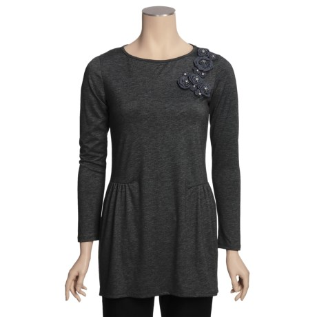 Chenault Knit Corsage Tunic Shirt - Side-Shirred, Long Sleeve (For Women)