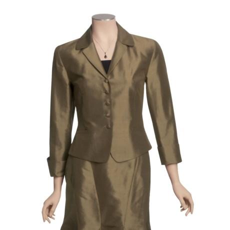 Louben Silk Notch Lapels Jacket - 5-Button Front (For Women)
