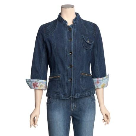 MontanaCo Racing Denim Jacket - Green Top Stitching (For Women)