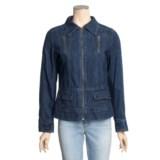 MontanaCo Denim Jacket - Zip Front, Green Top-Stitching (For Women)