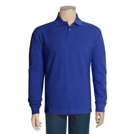 Cotton Pique Polo Shirt - Long Sleeve (For Men)