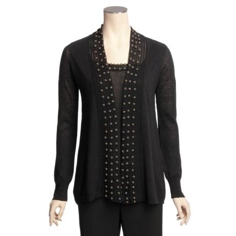 Lauren Hansen Cardigan Sweater - Linen-Cotton, Wooden Beads, Built-in Shell (For Women)