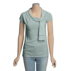 Lauren Hansen Shirred Cotton Tunic Shirt - Short Sleeve (For Women)
