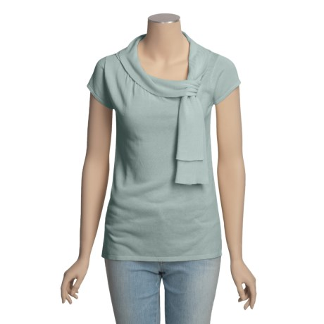 Lauren Hansen Shirred Cotton Tunic Shirt - Short Sleeve (For Women)
