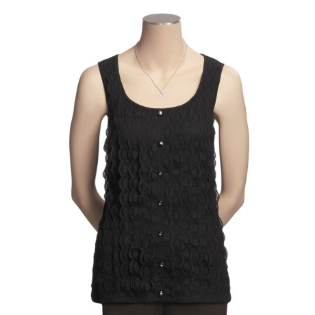 August Silk Lace Shirt - Rhinestone Buttons, Sleeveless (For Women)