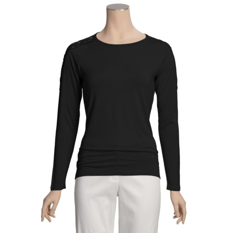 August Silk Jersey Knit Shirt - Shoulder Lace, Long Sleeve (For Women)