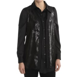August Silk Charmeuse Vest - V-Neck, Sequin Front (For Women)