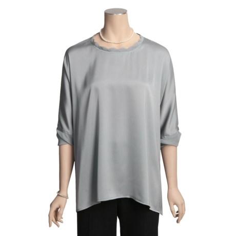 August Silk Shark Bite Shirt - Stretch Charmeuse, Long Sleeve (For Women)