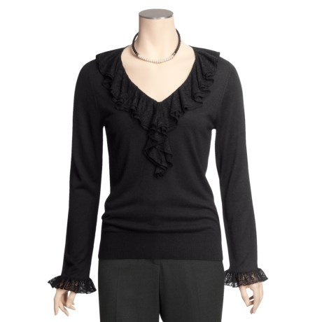 August Silk Warm Hand Shirt - Lace Flounce Neck, Long Sleeve (For Women)