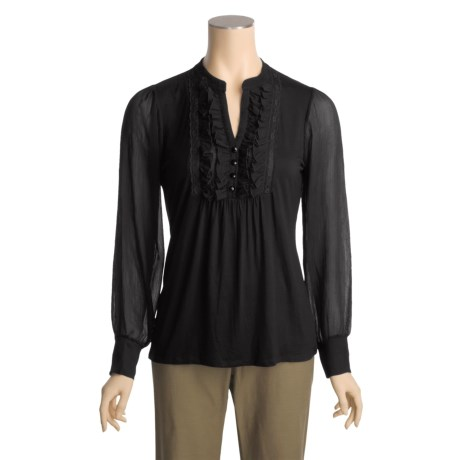 August Silk Lace Neck Shirt - Mandarin Collar, Long Sleeve (For Women)