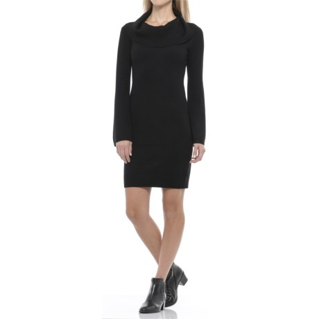 Joan Vass Cowl Neck Sweater Dress - Long Sleeve (For Women)