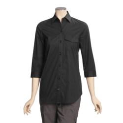 A Woman Stretch Cotton Tunic Shirt - 3/4 Sleeve (For Women)