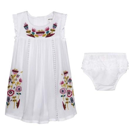 Artisan NY Flutter Sleeve Embroidered Dress and Diaper Cover - Sleeveless (For Infant Girls)