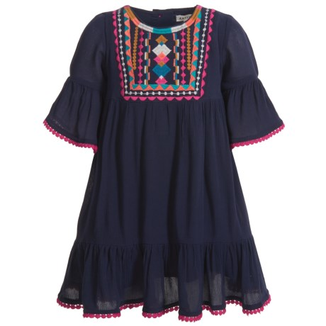 Artisan NY Bell Sleeve Embroidered Dress - 3/4 Sleeve (For Toddler Girls)