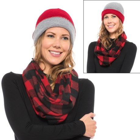Woolrich Knit Beanie and Flannel Scarf Set (For Women)
