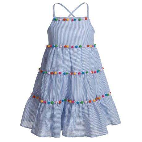 MAGGIE & ZOE Pompom Tiered Dress - Sleeveless (For Toddler Girls)