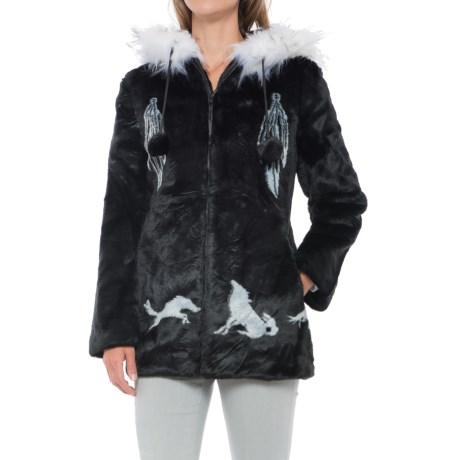 Black Mountain Faux-Fur Hooded Jacket (For Women)