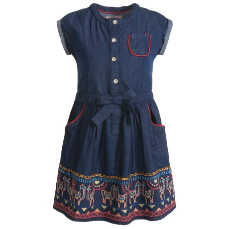 Gillian's Closet Embroidered Denim Dress - Short Sleeve (For Little and Big Girls)