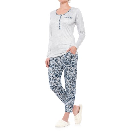 Ink+Ivy Printed Henley Pajamas - Long Sleeve (For Women)