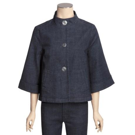 Casual Studio Swing Jacket - Stretch Denim, Mock Neck, 3/4 Sleeve (For Women)