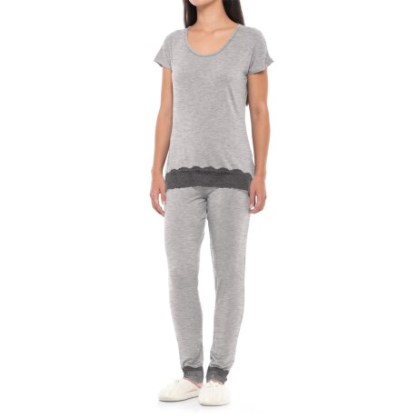 Catherine Catherine Malandrino Catherine Malandrino Lace-Trim Pajamas - Straight Leg, Short Sleeve (For Women)