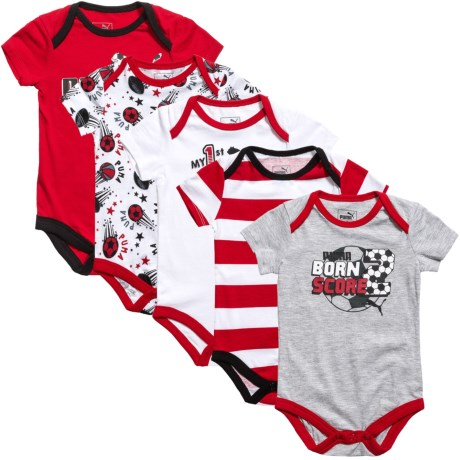 Puma Baby Bodysuit Set - 5-Piece, Short Sleeve (For Infants)