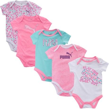 Puma Baby Bodysuit - 5-Pack, Short Sleeve (For Infant Girls)