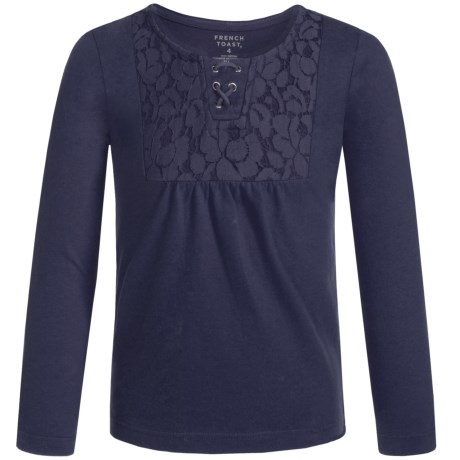 French Toast Lacy Peasant Top - Long Sleeve (For Big Girls)