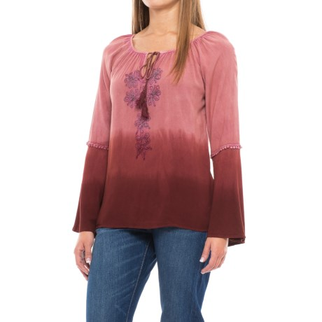 Studio West Embroidered Ombre Bell-Sleeve Peasant Blouse - Long Sleeve (For Women)