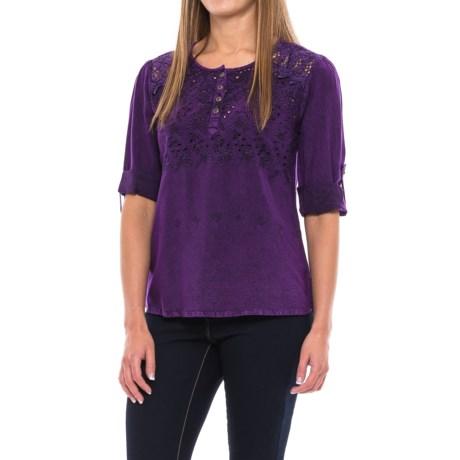 Studio West Crochet and Mesh Shirt - Semi Sheer, Roll-Up 3/4 Sleeve (For Women)
