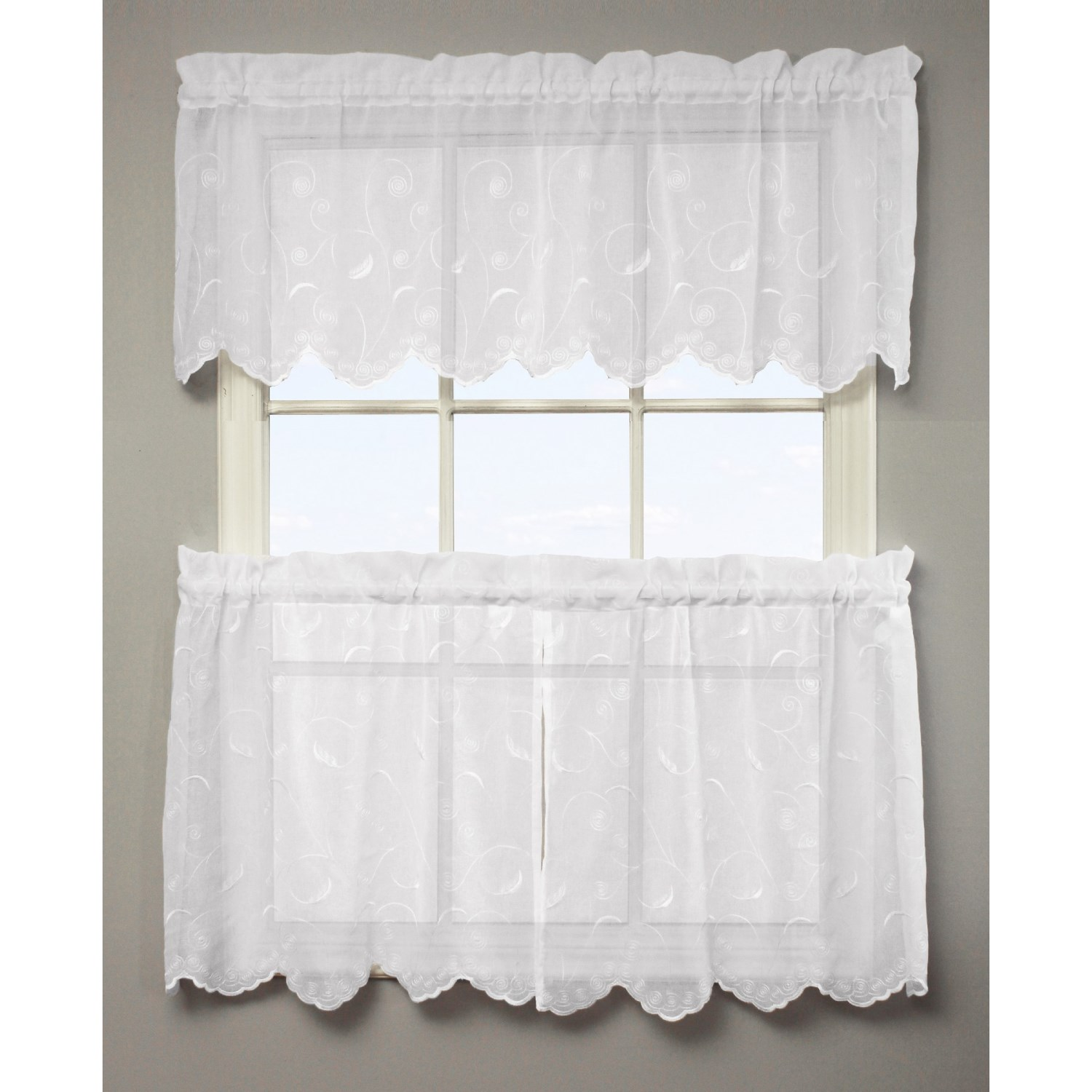 commonwealth home fashions sheer tier curtains 3 piece. Black Bedroom Furniture Sets. Home Design Ideas