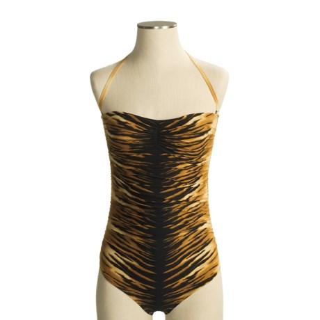 Carmen Marc Valvo Tanzania Bandeau Swimsuit - 1-Piece, Black Tiger Print (For Women)