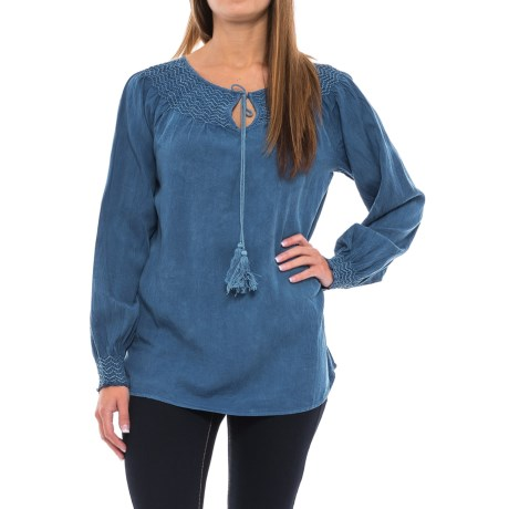 Studio West Smocked Peasant Top - Long Sleeve (For Women)