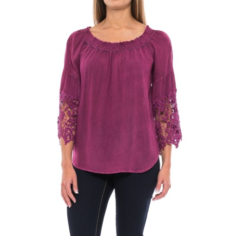 Studio West Crepe Lace-Sleeve Shirt - Long Sleeve (For Women)