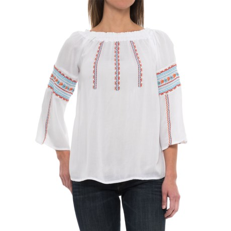 Studio West Embroidered Crinkle Crepe Shirt - Long Sleeve (For Women)