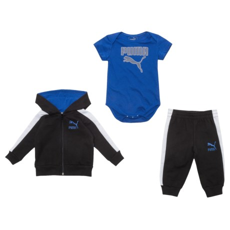 Puma Cotton Fleece Hoodie, Joggers and Baby Bodysuit Set (For Newborns)
