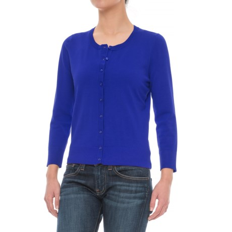 Cable & Gauge Grosgrain Trim Cardigan Sweater (For Women)