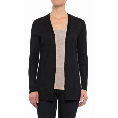 Cable & Gauge Open-Front Ribbed Cardigan Sweater (For Women)