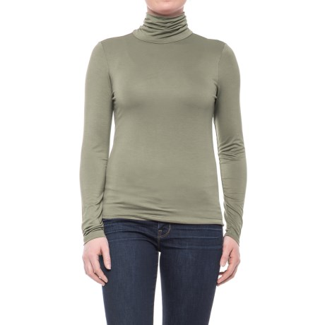 CG Cable & Gauge Scrunched Turtleneck - Long Sleeve (For Women)