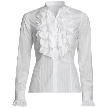 Audrey Talbott Kay Shadow Stripe Shirt - Cotton, Ruffle Front, Long Sleeve (For Women)