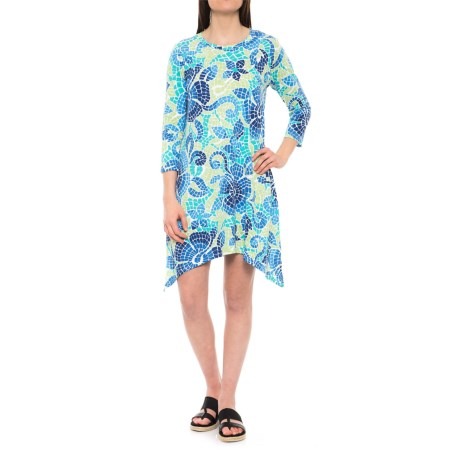 Caribbean Joe Tile Print Sharkbite Hem Dress - 3/4 Sleeve (For Women)