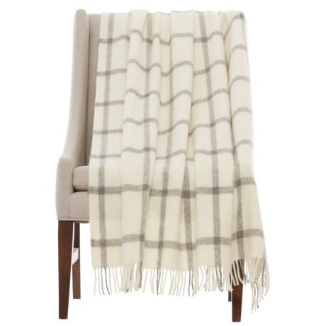 "Abraham Moon & Sons Bronte by Moon Windowpane Shetland Wool Throw Blanket - 55x72"""