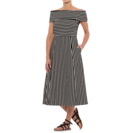 Specially made Striped Off-the-Shoulder Dress - Sleeveless (For Women)