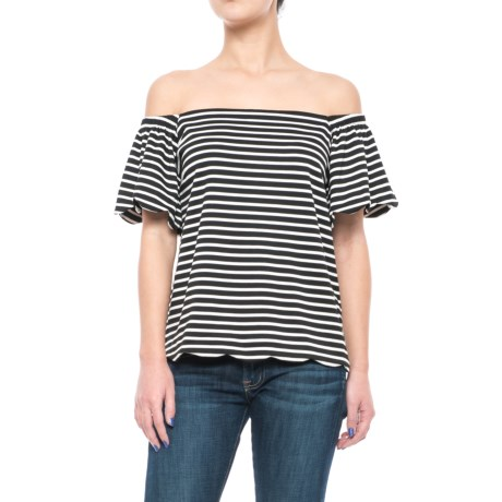 Specially made Striped Flutter-Sleeve Shirt - Short Sleeve (For Women)