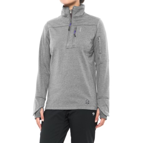Khombu Heathered Fleece Jacket - Zip Neck (For Women)