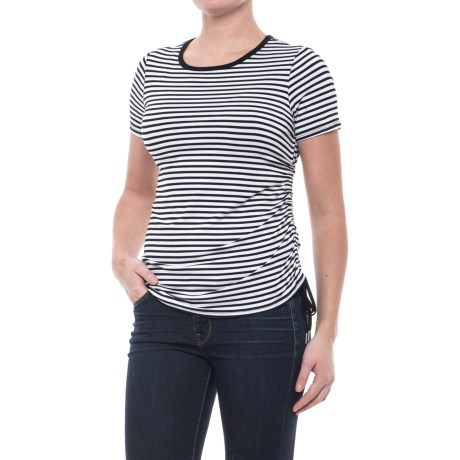 CG Cable & Gauge Striped Side Drawstring T-Shirt - Short Sleeve (For Women)