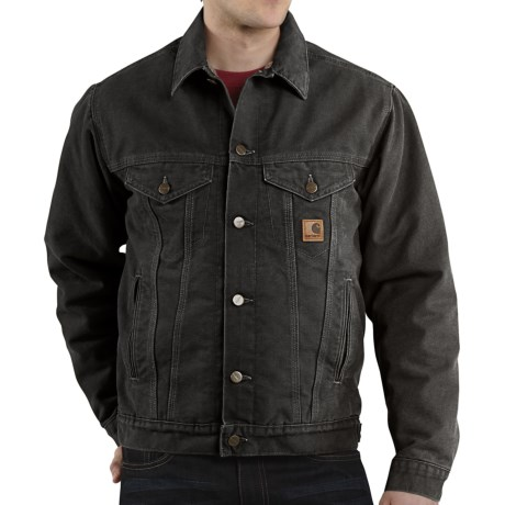 Carhartt Sandstone Jean Jacket - Sherpa Lined (For Men)