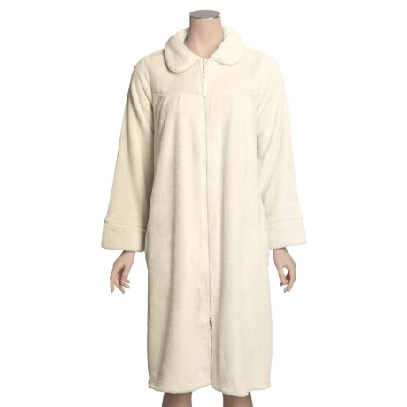Paddi Murphy Short Robe - Front Zip, Peter Pan Collar (For Women)